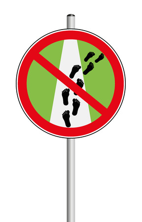 pedestrian walkway: Please stay on path - traffic sign, that says not to leave the trail. Isolated vector illustration on white background.