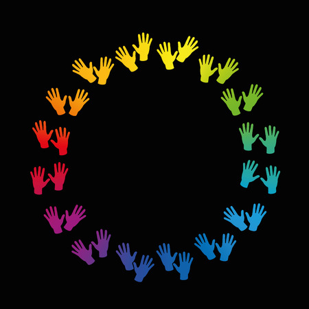 colored: Hands forming a colorful round frame. Isolated vector illustration over black background.