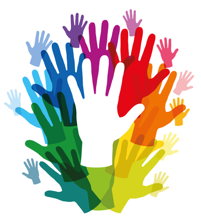 healing touch: Hands that form a rainbow colored frame with a white hand in the middle. Isolated vector illustration over white background.