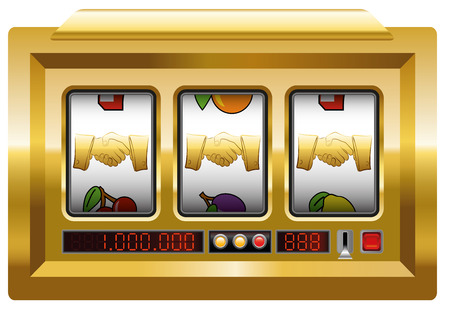 slot machine: Golden handshake - slot machine with three handshake symbols. Isolated vector illustration over white background.