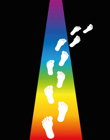 walking away: Footprint on a rainbow colored trail is leaving into darkness. Vector illustration. Illustration