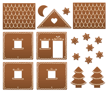 christmas baker's: Gingerbread house components in order to be build up. Isolated vector illustration on white background.