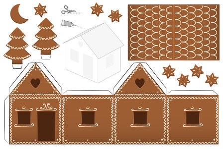 house illustration: Gingerbread house paper model with trees, moon and stars - print it on heavy paper, cut the pieces out, score and fold them and glue them together. Isolated vector illustration on white background.