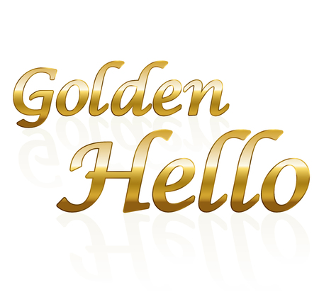 win win: Golden hello - business term. Isolated vector illustration on white background.
