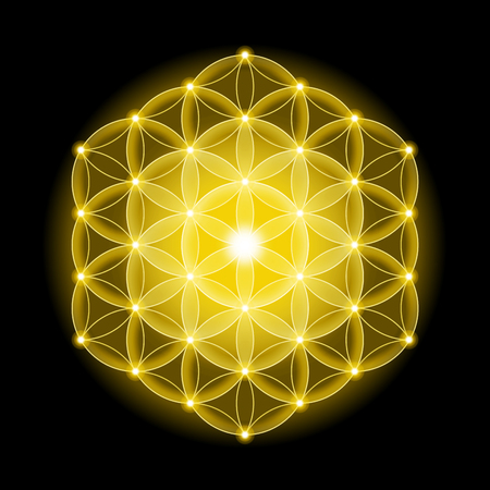 and sacred: Golden cosmic Flower of Life with stars on black background, a spiritual symbol and Sacred Geometry since ancient times.