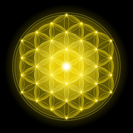 Golden Flower of Life with on black background, a spiritual symbol and Sacred Geometry since ancient times.