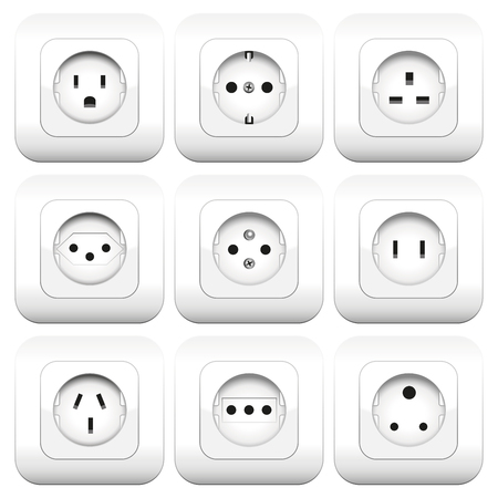 foreign country: Sockets - different types - worldwide varieties. Isolated vector illustration over white background.