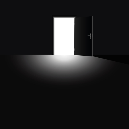 angst: Open door with light coming into the darkness, as a symbol for hope, courage and for taking a chance. Vector illustration