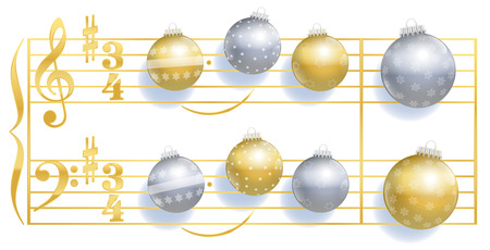 instead: Silent Night christmas song stave with christmas tree balls instead of notes. Illustration on white background. Illustration