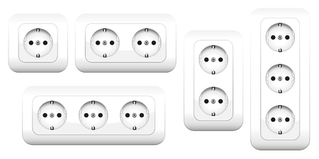 Sockets - european double and triple outlets. Isolated vector illustration on white background. Stock Illustratie