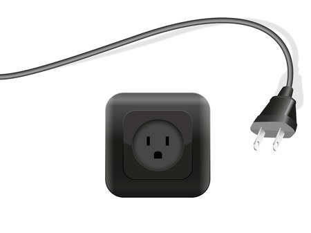electrically: Plug and outlet - both black. Isolated vector illustration on white background.