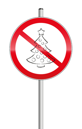 annoyance: Christmas tree crossed out on a prohibition sign, as a symbol for xmas problems. Isolated vector illustration on white background.