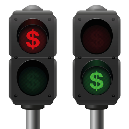 Dollar signs as traffic lights, as a symbol for profit and loss or other business issues. Isolated vector illustration on white background.