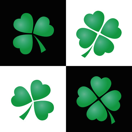 three leaved: Shamrock pattern, three and four leaved clovers on black and white square background. Vector illustration.