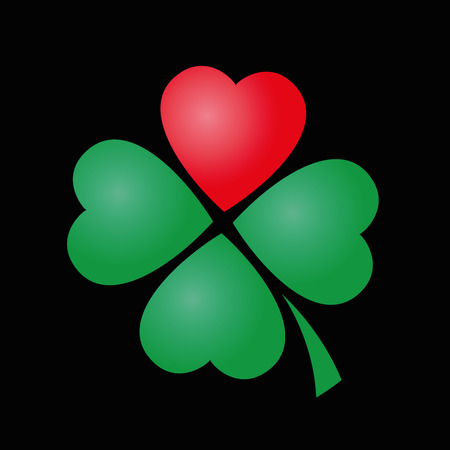 leaved: Cloverleaf - four leaved with one red heart. Illustration on black background. Illustration