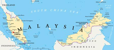 mapa politico: Mapa político Malasia con capital Kuala Lumpur, las fronteras nacionales, las ciudades y los ríos importantes. Etiquetado y escalado Inglés. Ilustración. Vectores