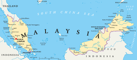 Malaysia map stock photos pictures royalty free malaysia map malaysia political map with capital kuala lumpur national borders important cities and rivers gumiabroncs Gallery