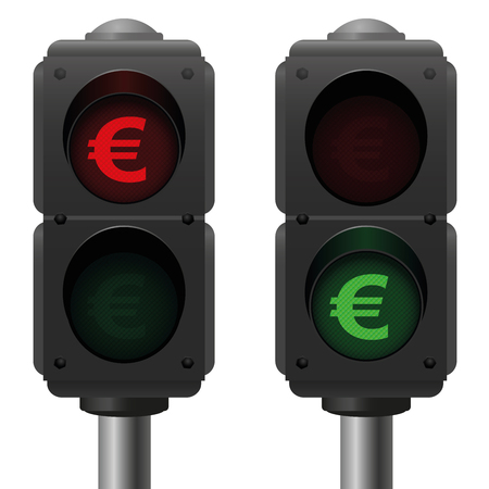Euro traffic lights, as a symbol for good and bad finances. Isolated vector illustration on white background.