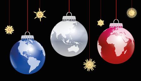 クリスマス ボール地球 - ビューの 3 つの角度。黒い背景に三次元の図。