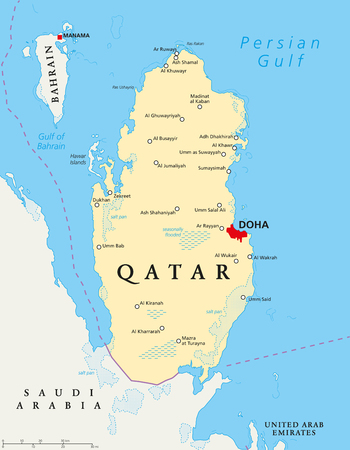 southwest asia: Qatar political map with capital Doha, national borders, important cities, salt pans and reefs. English labeling and scaling. Illustration.