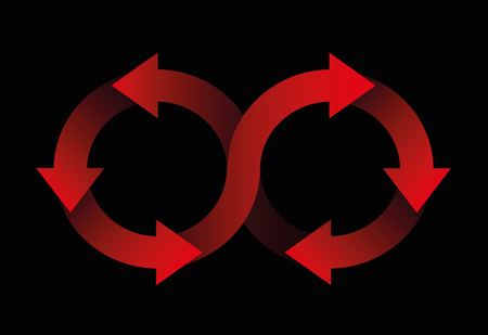 Circulation symbol made of red arrows on black background.