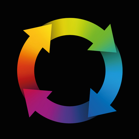 Spinning arrows forming a colorful rainbow circle. Illustration on black background. 向量圖像