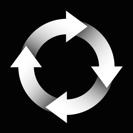 slog: Spinning arrows forming a white circle. Illustration over black background.