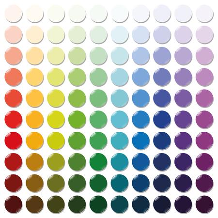 mostradores: Contadores - exactamente cien fichas de plástico redondo de colores ordenados como una muestra de color - desde muy brillante a intensos tonos oscuros de todos los colores. ilustración vectorial aislado sobre fondo blanco. Vectores