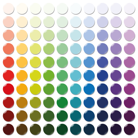 tokens: Counters - exactly one hundred round colorful plastic tokens sorted like a color swatch - from very bright to intense dark shades of all colors. Isolated vector illustration over white background.
