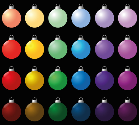 compilation: Colorful christmas balls. Seamless background can be created. Isolated vector illustration over black. Illustration