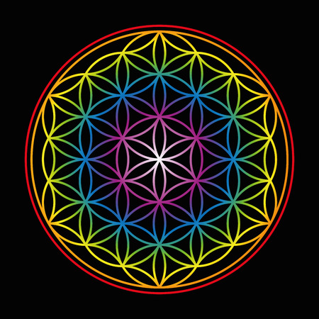 inner peace: Flower of Life - bright glowing rainbow colored symbol of harmony on black background.