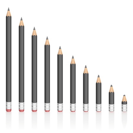 shorter: Graphite pencils getting shorter - symbolic for contraction, reduction, decrease, loss. Isolated vector illustration on white background.