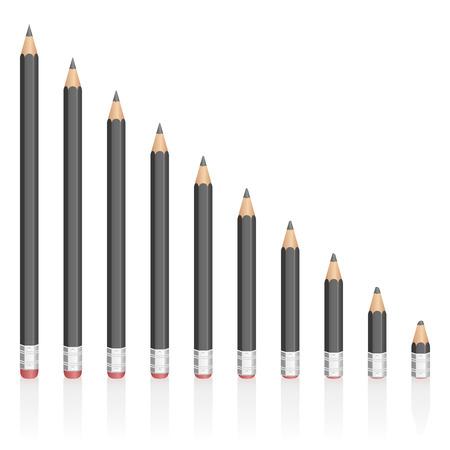eficiencia: lápices de grafito cada vez más cortos - simbólica para la contracción, reducción, disminución, pérdida. ilustración vectorial aislados en fondo blanco.