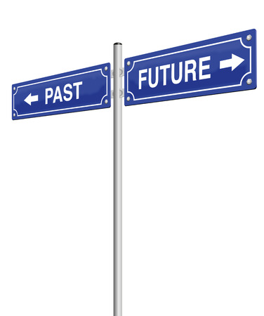 forwards: PAST and FUTURE, written on two signposts. Isolated vector illustration over white background. Illustration