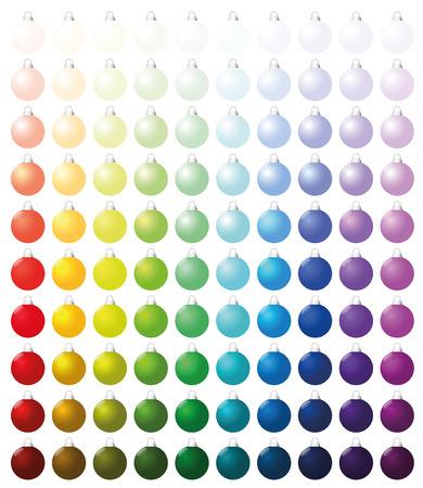Boules de Noël, exactement une centaine de pièces triées comme un nuancier - de très lumineux aux teintes sombres intenses de toutes les couleurs. Isolated illustration vectorielle sur fond blanc. Vecteurs