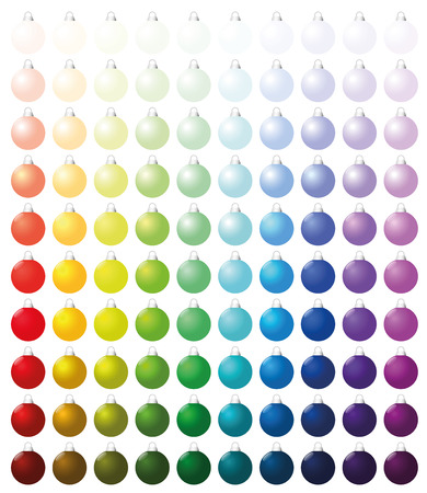 lots: Christmas balls, exactly one hundred pieces sorted like a color chart - from very bright to intense dark shades of all colors. Isolated vector illustration on white background. Illustration
