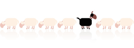 outsider: Black sheep looking up - white sheep grazing. Cartoon vector illustration on white background.