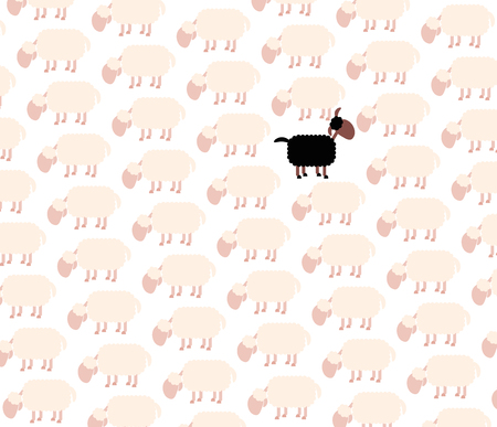 outsider: Black sheep among white sheep flock. Vector illustration on white background.