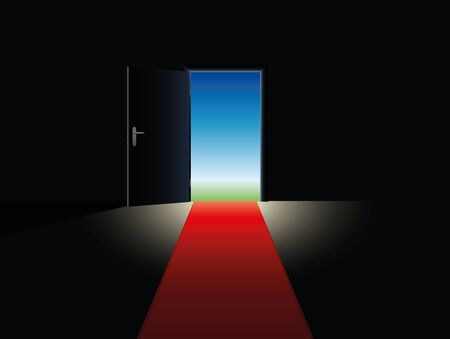out door: Freedom symbolized with a red carpet leading to an open door.