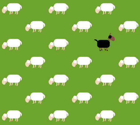 outsider: Black sheep with white sheep on a green pasture. Seamless background can be created in all directions. Isolated vector illustration on green background. Illustration