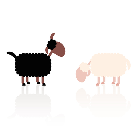 enemies: Black sheep and white sheep. Isolated vector illustration over white background.