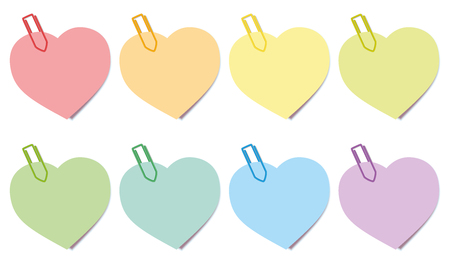 recall: Sticky notes - heart shaped colored notepads with paperclips. Isolated vector illustration over white background.