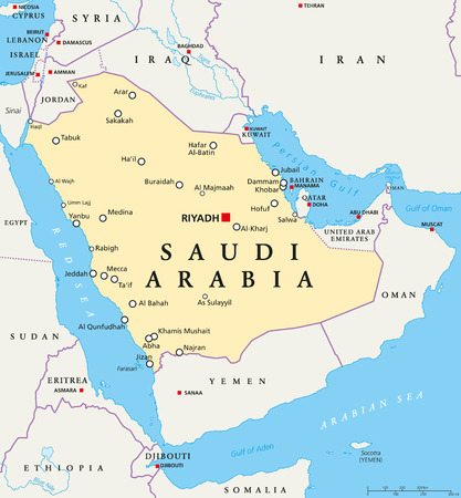 middle east map: Saudi Arabia political map with capital Riyadh, national borders and important cities. English labeling and scaling. Illustration.
