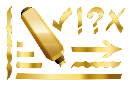 Gold marker - plus some gilded signs like call sign, question mark, tick mark, arrow and underlining. Vector illustration over white background.