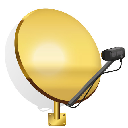 satellite dish: Golden satellite dish to receive signals for television, radio, internet. Isolated vector illustration on white background.