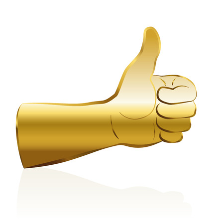 all right: Thumbs up - golden colored, a symbol for success. Isolated vector illustration on white background. Illustration