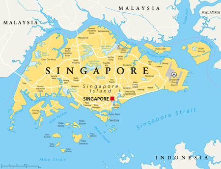 capital cities: Singapore island political map with capital Singapore, national borders and important cities. English labeling and scaling. Illustration.