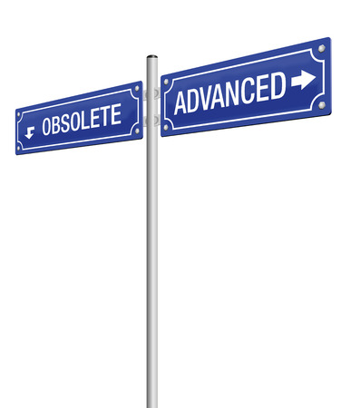 obsolete: ADVANCED and OBSOLETE, written on two signposts. Isolated vector illustration on white background.