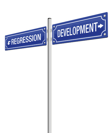 regression: DEVELOPMENT and REGRESSION, written on two signposts. Isolated vector illustration on white background.