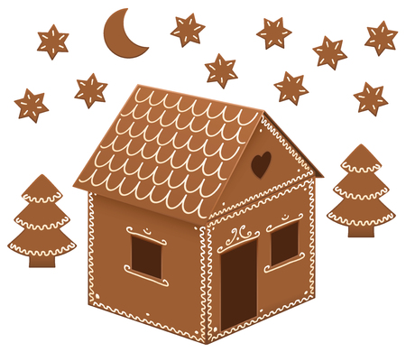 christmas baker's: Gingerbread house with trees, moon and stars. Isolated vector illustration on white background.